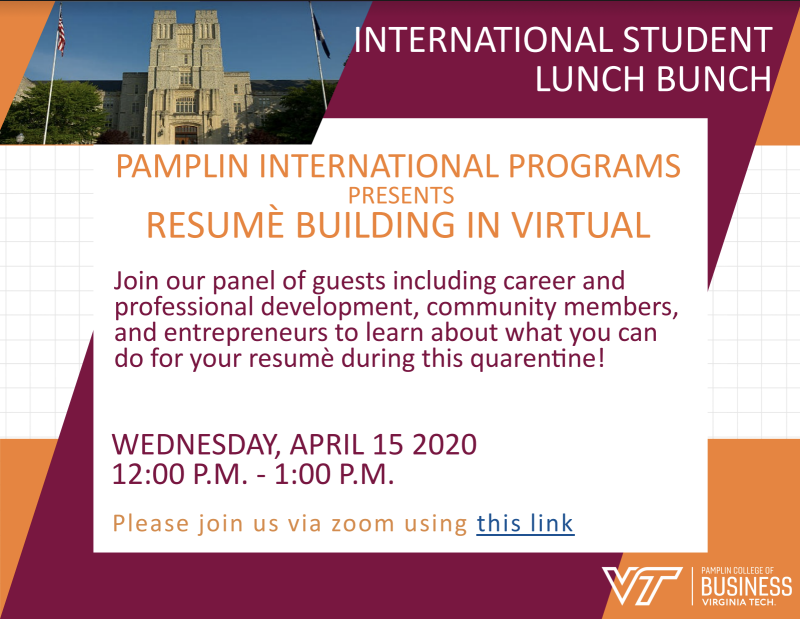 Resume Building Workshop International Programs Virginia Tech