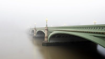 Bridge fading into the fog